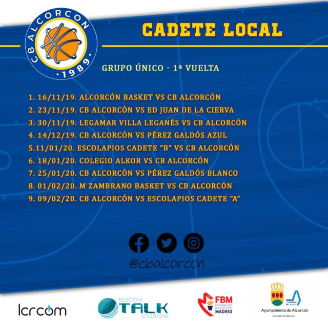 Cadete Local – Calendario 1ª fase