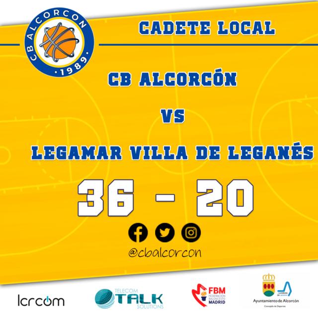 CB Alcorcón 36 – Legamar Villa de Leganés 20