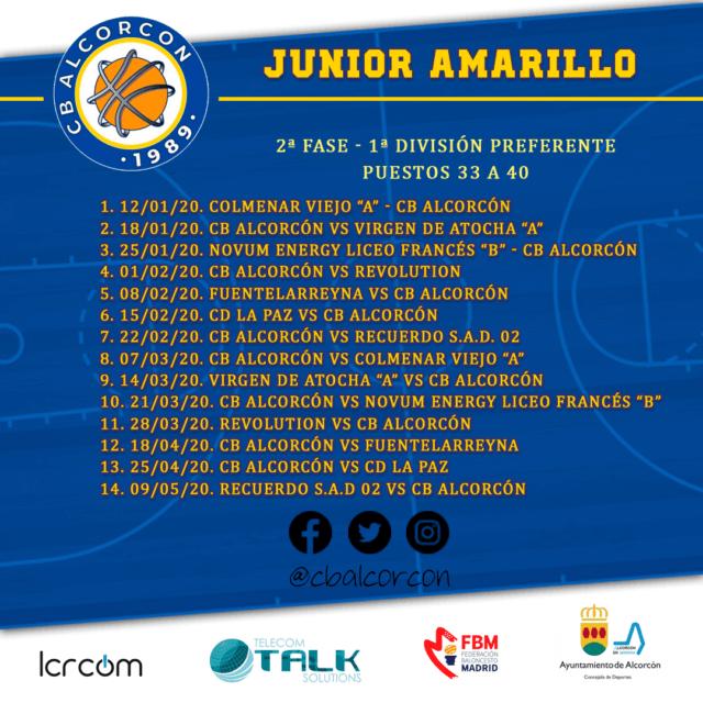 Calendario Junior Amarillo – 2ª Fase
