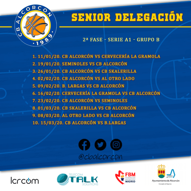 Calendario Senior Delegación – 2ª Fase