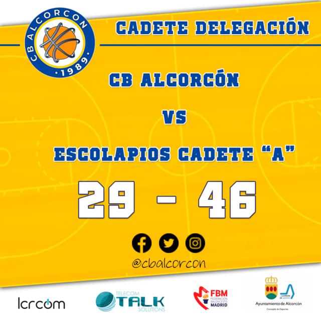 CB Alcorcón 29 – Escolapios Cadete «A» 46