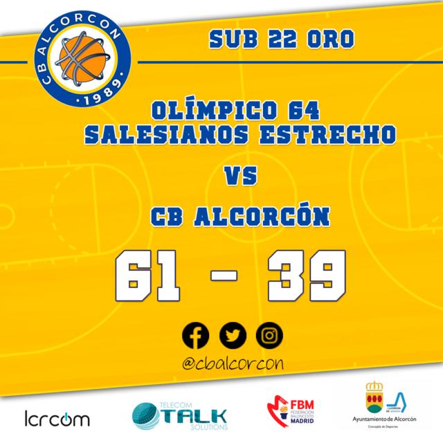 Olímpico 64 Salesianos Estrecho 61 – CB Alcorcón 39