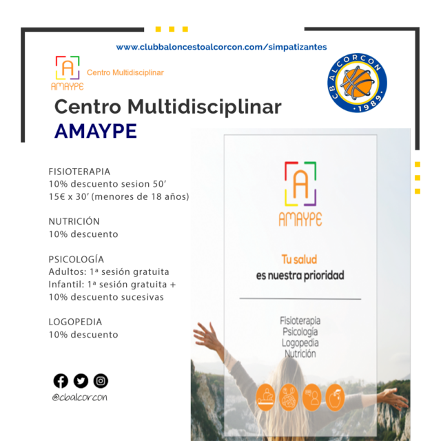 Centro multidisciplinar Amaype – Colaborador Club Baloncesto Alcorcón