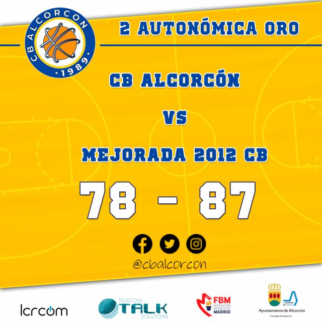 31/01/21. 2ª Autonómica Oro. CB Alcorcón vs Mejorada 2012 CB