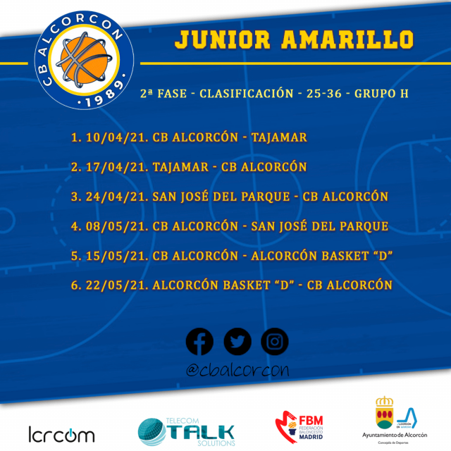 Calendario 2ª fase – Junior Amarillo