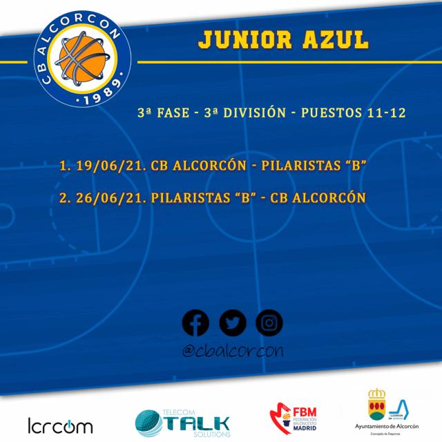 Calendario 3ª Fase – Junior Azul